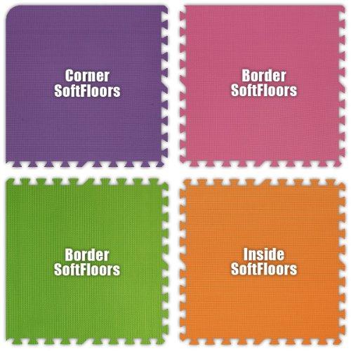 Alessco SFPEPKLGOE0202B SoftFloors -Purple- Pink- Lime Green- Orange -2' X 2' X .625inch Border