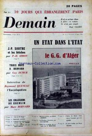 demain-no-13-du-08-03-1956-algerie-jp-sartre-ph-simon-harvard-g-dumur-r-queneau-kremlin-m-bernard-ma