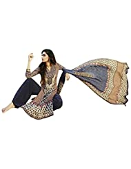 Beige And Navy Blue Casual Salwar Kameez In Cotton Satin