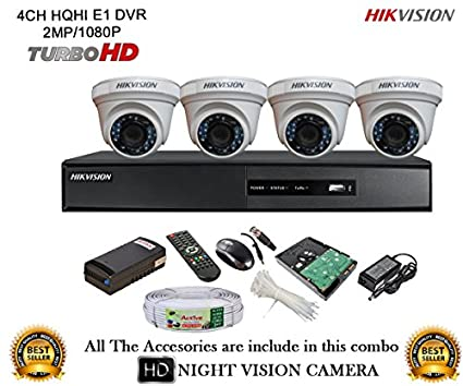 Hikvision-DS-7204HQHI-E1-4Ch-Dvr,-4(DS2CE56DOT-IR)-Dome-Camera-(With-Mouse,-Remote,-500GB-HDD,-Bnc&Dc-Connectors,Power-Supply,Cable)