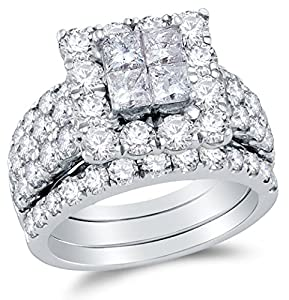 Size 4.25 - 14K White Gold Princess Cut & Round Diamond Halo Circle Bridal Engagement Ring & Matching Wedding Band Two Piece Set - Invisible Set Square Princess Center Setting Shape with Prong Set Side Stones (4.00 cttw.)