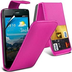 Cover in pelle (Hot Pink) Scheda di Huawei Y530 protezione Faux di Credito / Debito cuoio di vibrazione, schermo di tocco penna stilo a scomparsa e LCD Screen Protector Guard Entro * Aventus *   recensioni dei clienti Valutazione
