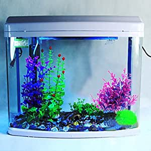 Buw plastic vivid purple water plants for Aquarium decoration ideas cheap