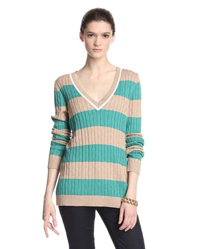 Cullen Women's Striped Cable V-Neck Sweater