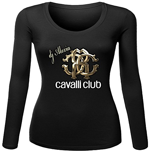 New Roberto Cavalli Logo For 2016 Womens Printed Long Sleeve tops t shirts