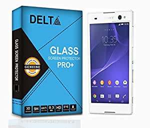 Sony Experia C3 Screen Protector,Delta Premium Pro+ Tempered Glass,Shatter Proof Screen Protector for Sony Experia C3 with Cleaning Kit [2.5D round Edges,0.3mm,9H hardness]