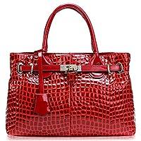 PASTE Women's Elegant Split Leather Crocodile Grain Hot Totes/Shoulder Bag,Handbag Red