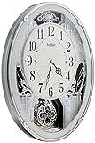 リズム時計 電波 掛け時計 スモールワールドプラウド メロディアミューズ付き グリーンメタリック 4MN523RH05