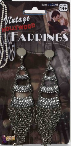Forum Novelties Women's Vintage Hollywood Rhinestone Earrings - 1