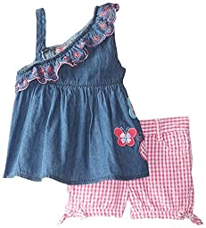 Young Hearts Baby Girls\' 2 Piece Short Set with Butterfly Appliques, Blue, 24 Months