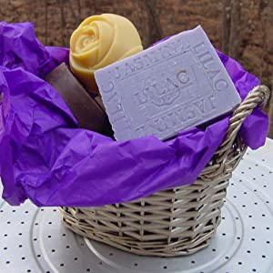 All Natural Handmade Soap Gift Basket (Five Piece) for Gifts, Guests and Personal Care.