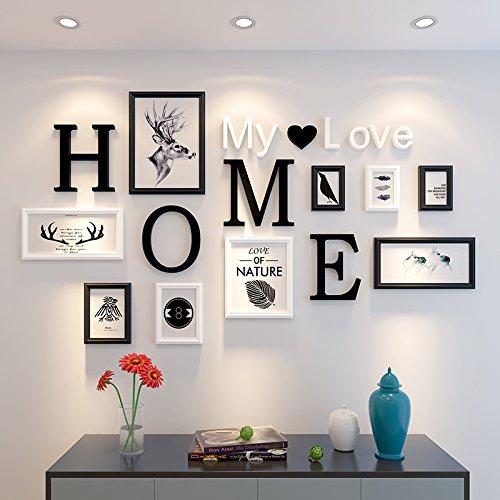 Marco de fotos HJKY Conjunto de pared de madera maciza, sencillo y moderno, multi - bastidor, irregular, para pared foto ?salón comedor,en blanco y negro