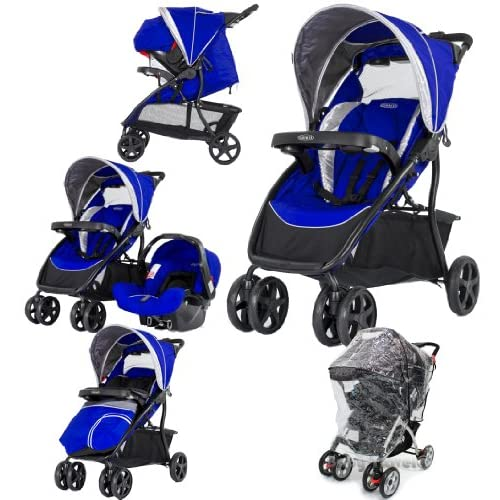 Graco Dynamo Lite Travel System Indigo Complete With Carseat Footmuff & Raincover