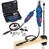 Powerplus 135w Multitool Combitool Rotary 230v Multi Purpose Tool Dremel Compatible - Hobby, Craft, Jewellery, Model Making - Includes 40 Piece Accessories Kit, Flexible Extension and Bench Mount Stand Workstation POW1820 - 2 Year Home User Warranty
