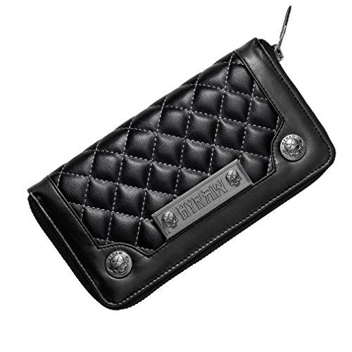 Hyraw Portafoglio da donna trapuntato-All Black Portafoglio XL
