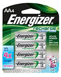 Energizer Recharge Power Plus AA Batteries 4 Pack