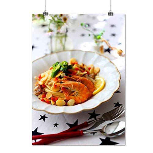 Délicieux Pâtes Et Crevette Délicieux Matte/Glacé Affiche A0 (119cm x 84cm) | Wellcoda