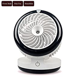 Soter 3 in1 Multifunction Portable Air Conditioner Handheld USB Mini Misting Fan with Powerbank and Personal Cooling Quiet Cool Mist Air Ultrasonic Humidifier (White)