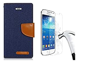 DENICELL Royal Dairy Style Flip Cover Combo Offer For HTC 526 (MATTE BLUE WITH TEMPERED GLASS)