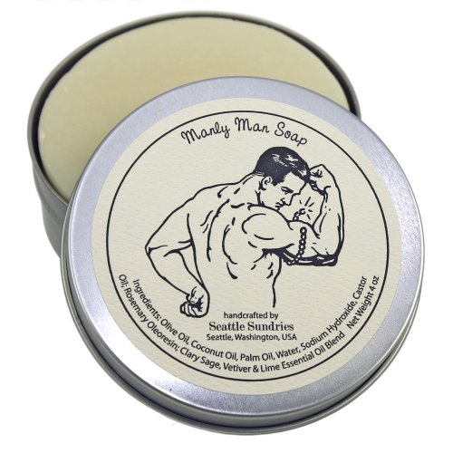 Manly Man Soap-100% Natural & Hand Made, in Reusable Travel Gift Tin
