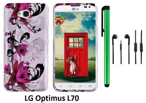 Lg Optimus L70 (Ms323) Premium Pretty Design Protector Hard Cover Case + 3.5Mm Stereo Earphones + 1 Of New Assorted Color Metal Stylus Touch Screen Pen (A String Of Straight Red Flower On White)