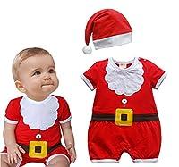 Baby Boys Santa Claus Costume Cotton Onesie Romper and Hat 2-pc Set