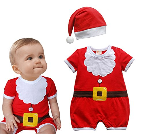 Baby Boys Santa Claus Costume Cotton Onesie Romper and Hat 2-pc Set