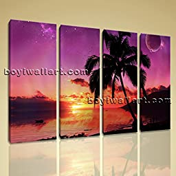 Large Wall Art Print On Canvas Contemporary Seascape Sunset Palm Tree Landscape 4 Panels Wall Art Inner Framed Ready To Hang by Bo Yi Gallery 51\