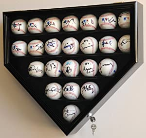 Buy 23 Baseball Display Case Cabinet Holder Wall Rack Home Plate Shaped w  UV Protection- Lockable by sfDisplay