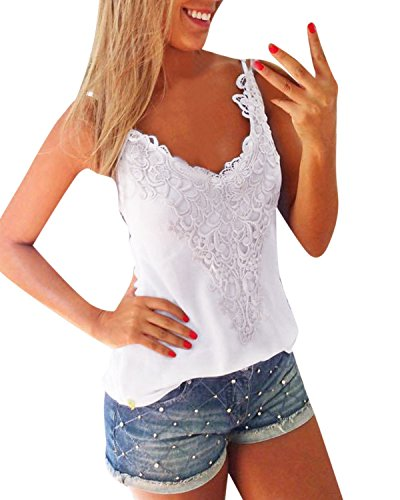 ZANZEA Sexy Women Summer Lace Vest T Shirt Tees Casual Blouse Camis Tank Tops White M=US 8 (White Lace Tank compare prices)