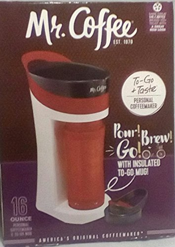 Mr. Coffee Pour! Brew! Go! 16-Ounce Personal Coffee Maker with Insulated TO-GO mug, Candy Apple Red, BVMC-MLRD