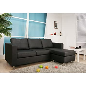 Bonded-Leather Interchangeable Sectional Sofa with Ottoman
