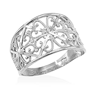 Fine 10k White Gold Milgrain Edge Four Leaf Clover Filigree Cocktail Ring by Claddagh Gold