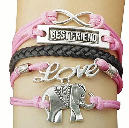 Wym Alloy Accessories Elephant Infinity Love Leather Charm Bracelet Best Friend Gift
