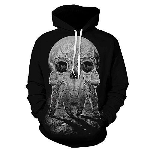 Cool Astronaut Skull Printed Black Pullover Hoody Sweatshirt with Big Pocket L (Cool Printed Hoodies compare prices)