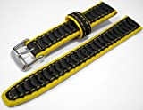Black & Yellow Rubber Waterproof Divers Watch Strap Band 20mm