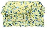 Dolls House Miniature Lounge Furniture Lemon Floral Summer Chintz Sofa 6491