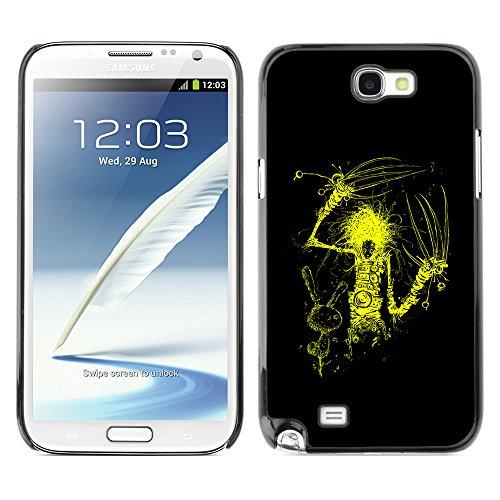 DesignCase Premium Slim PC / Aluminium Combo Schutz Hülle Tasche Slim Case Cover Armor - Yellow Scissor Hand - Samsung Note 2