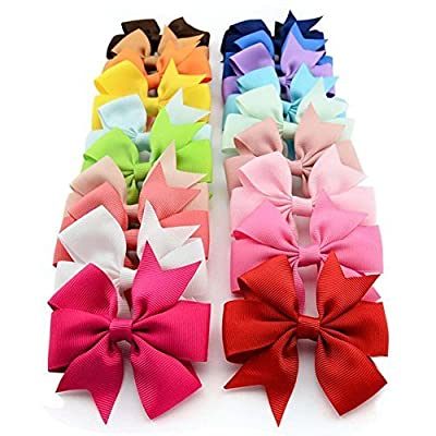 "20pcs 3"" Boutique Hair Bows Girls Kids Children Alligator Clip Grosgrain Ribbon Headbands 20 Color by MrSleeper"