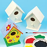 Mini Wooden Birdhouses Children's Painting Crafts, Garden Crafts, Personalised Gifts (Pack of 4)