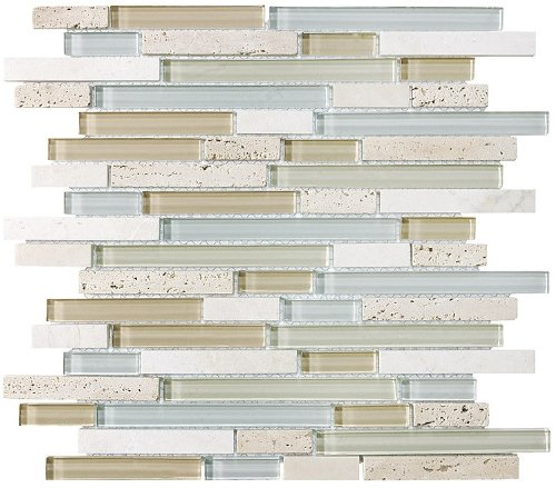 Фото Bliss Spa Stone and Glass Linear Mosaic Tiles