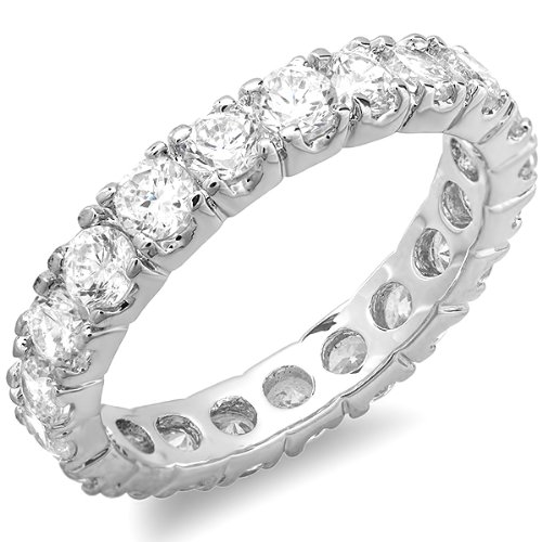 1.50 CT Platinum Plated Ladies Round Cubic Zirconia CZ Wedding Bridal Engagement Enernity Band (Available in size 6, 7)