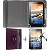 "Hello Zone Exclusive 360° Rotating 7"" Inch Flip Case Cover + Free Tempered Glass For Swipe Ace Prime Tablet -Purple"