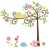 HQdeal Removable Wall Decal Cartoon Wall Decor Stickers Wallpaper Owl Tree Squirrel