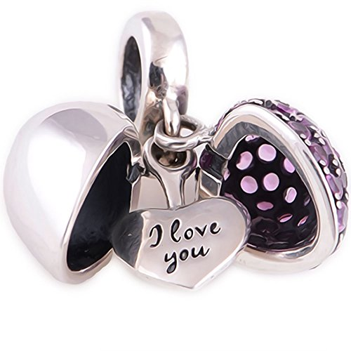 I Love You - Silver Heart Crystal Charm - Sterling Silver 925 - Gift Boxed