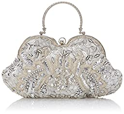 MG Collection Sarita Beaded Sequin Evening Bag, Silver, One Size