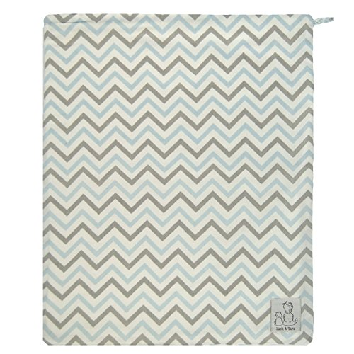 Zack & Tara Wet Bag - Chic Chevrons in Blue & Gray - Large