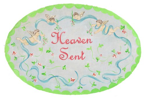 The Kids Room by Stupell Heaven Sent with Cherubs Oval Wall Plaque