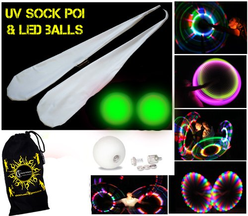 Flames N Games UV Sock Poi Set + 2x LED Glow Juggling Balls (GREEN) + Travel Bag - Batteries Included!