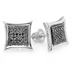0.15 Carat (ctw) Sterling Silver Black Round Diamond Micro Pave Setting Kite Shape Stud Earrings